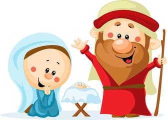 Funny Christmas nativity scene with holy family