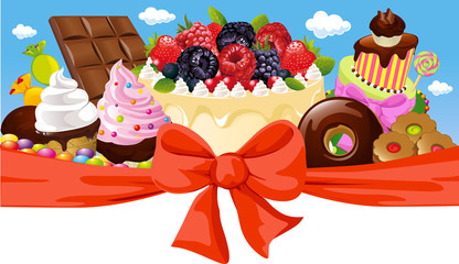 horizontal design with sweet food - cake, chocolate, ice cream
