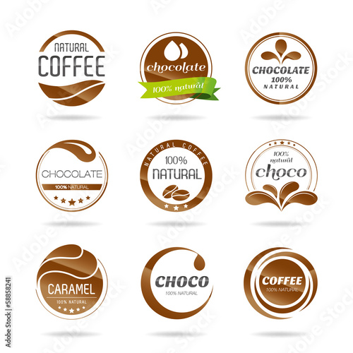 Chocolate, coffee and caramel icon design-Illustration