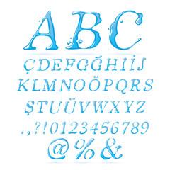 Water alphabet Upper Case Italic