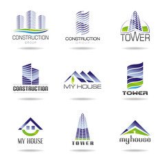 Collection of real estate and architecture icon set