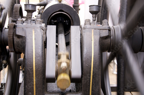 Close up of Antique Engine Spinning