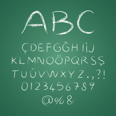 ABC letters on a blackboard