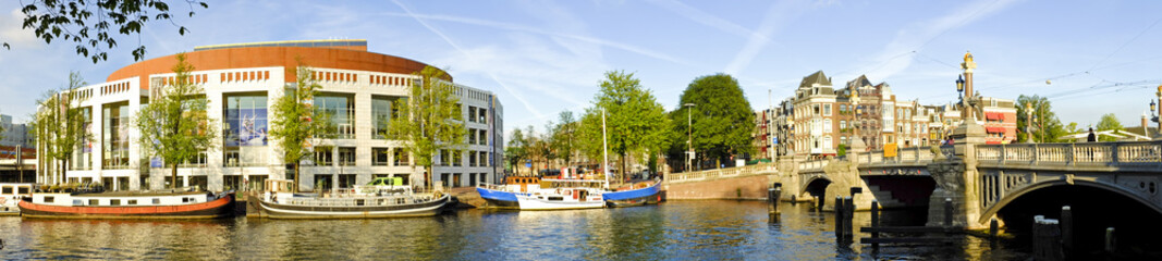 Panorama from Amsterdam innercity with the Amstel in the Netherl