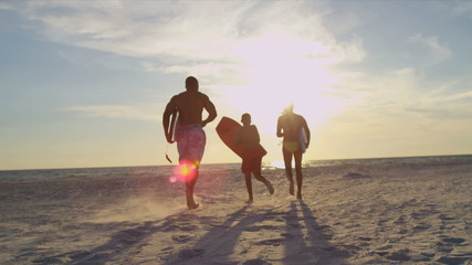 African American Family Vacation Surfing Beach Lifestyle