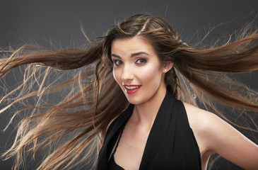 Woman hair style fashion portrait . Wind in hair.