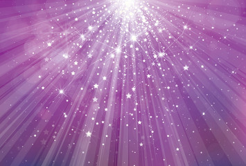 Vector glitter violet background with rays of lights and stars.