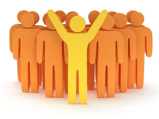 Group of stylized orange people with teamleader