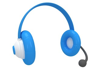 View of one blue headset. 3d render.