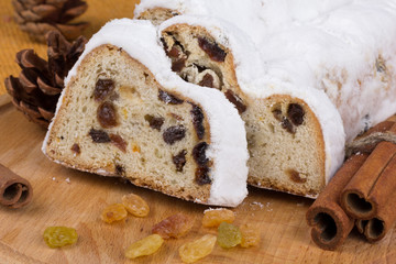 Christmas stollen with raisins and spices