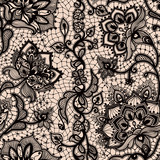 Fototapety Abstract seamless lace pattern with flowers and butterflies.