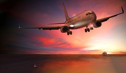 Passagierflugzeug, Landung bei Sonnenuntergang über dem Meer