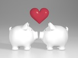 Piggy bank - two white pigs with red heart
