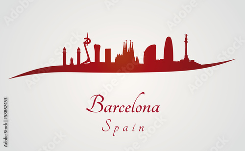 Barcelona skyline in red