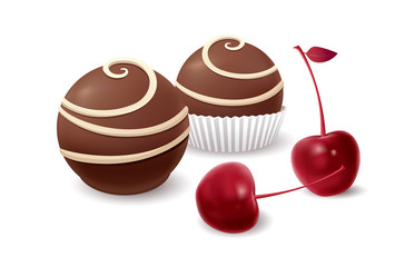 Chocolate candy and cherry