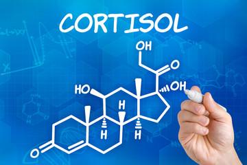 Hand zeichnet chemische Strukturformel von Cortisol