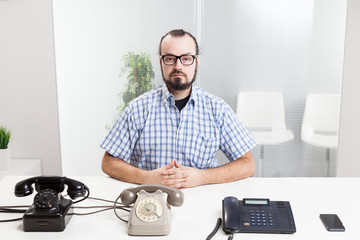 Very busy man working on call center