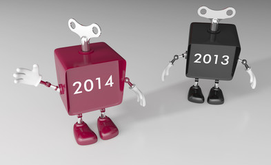 New year 2014 is here! Mechanical toy robots
