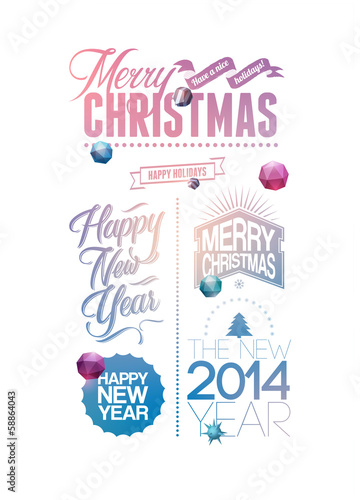Merry Christmas and Happy New Year design.
