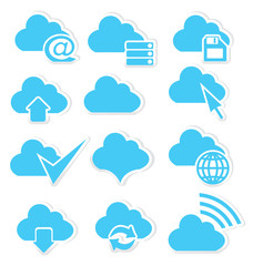 Cloud icon set internet