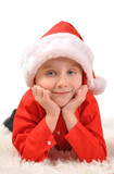 Little Boy Wearing Christmas Santa Hat