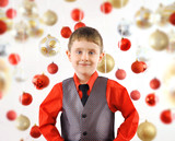 Happy Christmas Boy with Ornament Background