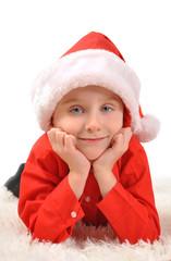 Little Boy Wearing Christmas Santa Hat