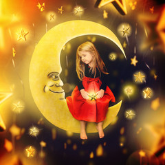 Little Child Sitting on the Moon with Stars