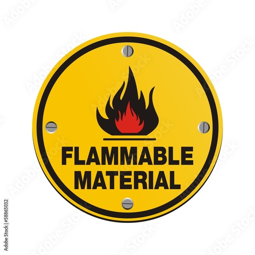 round sign - flammable material