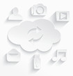 White cloud computing symbols arrows cut