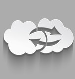 White cloud computing sink icon