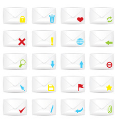 White closed twenty envelopes icon set
