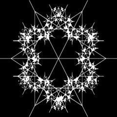 Ornate decorative snowflake on a black background