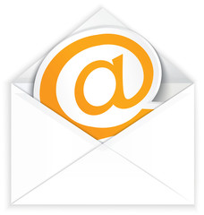 White envelope and at e mail symbol