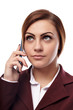 Businesswoman wearing glasses and talking to the phone