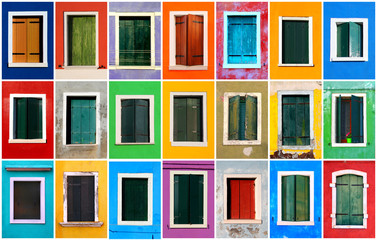 Colorful windows collage