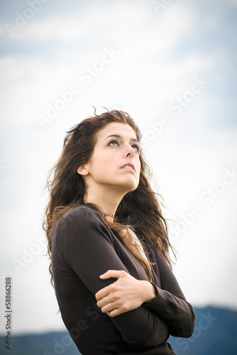 Pensive shivery sad woman