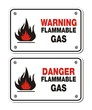 rectangle signs - warning and danger flammable gas