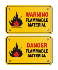 rectangle yellow signs - warning and danger flammable material
