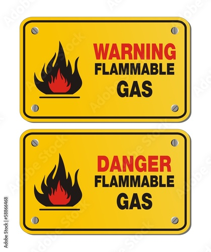rectangle yellow signs - warning and danger flammable gas