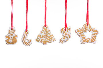Christmas homemade gingerbread cookies isolated on white © gbzero