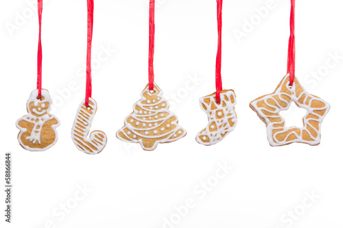 Christmas homemade gingerbread cookies isolated on white