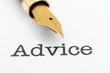 Fountain pen on advice text