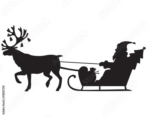 Santa Claus riding a sleigh with reindeer
