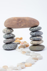 Stones balance - pebbles stack  isolated on white