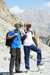 smiling tourist hiker in india mountains