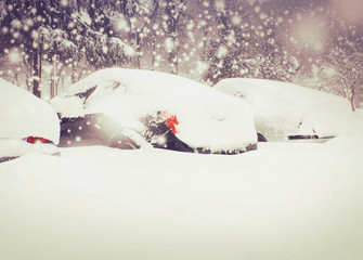 cars on the parking under snow