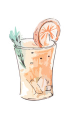 Vector watercolor drink with orange segment