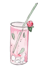 Pink hand drawn cocktail
