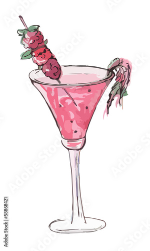 Vector watercolor drink with raspberries